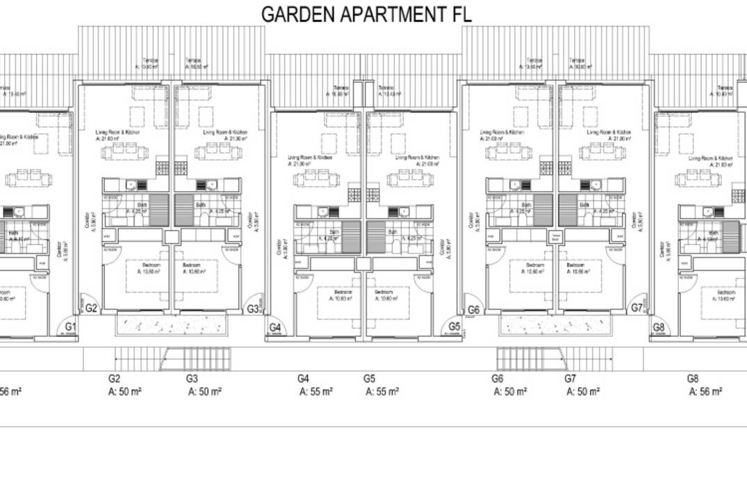 Garden apartment with one and two bedrooms