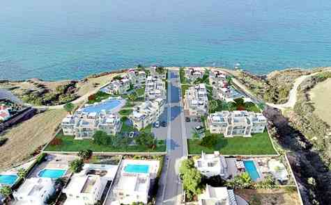 Modern apartments in Mediterranean style in a holiday complex on the beachfront