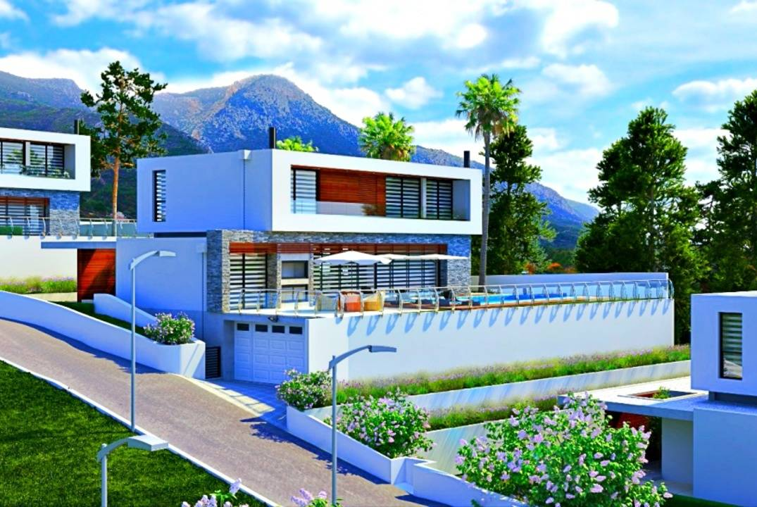 Luxury Villas in Bellapais, 4 Bedrooms, with the pool