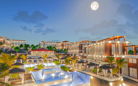 Apartments in a complex with spectacular views and infrastructure in Esentepe, by the sea