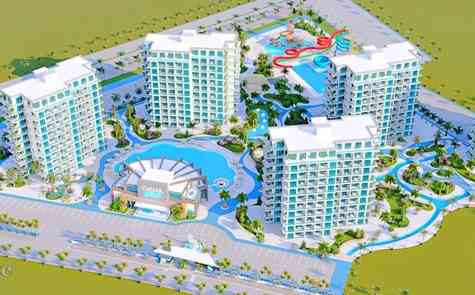 Two bedroom apartments 300 meters from sandy beach in complex with Aquapark