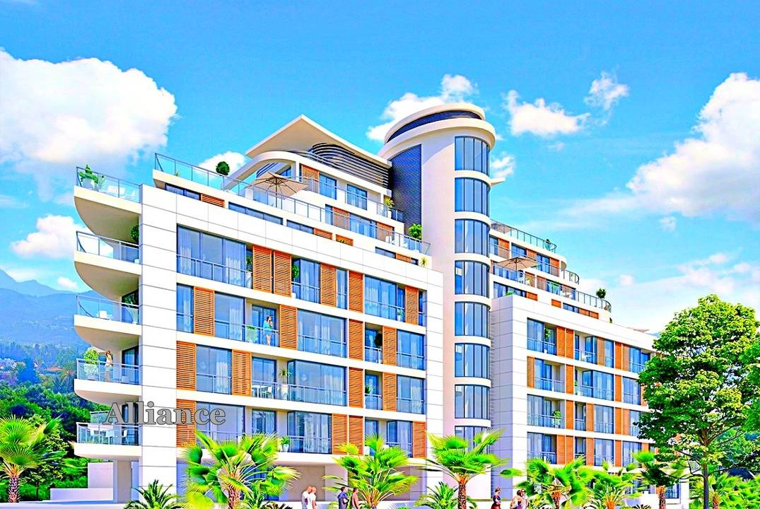 Luxury apartments in a modern building in the center of Kyrenia